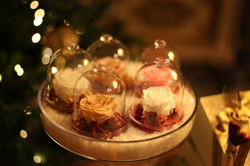 Roses glass decoration. Still-life christmas decoration of beautiful roses in glass royalty free stock photo