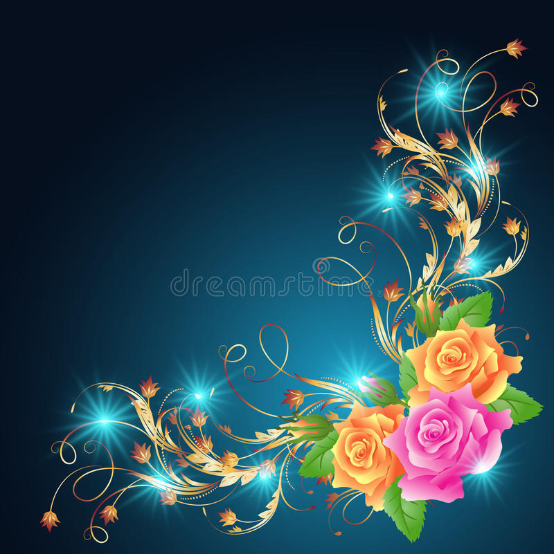 Roses and glowing stars stock illustration