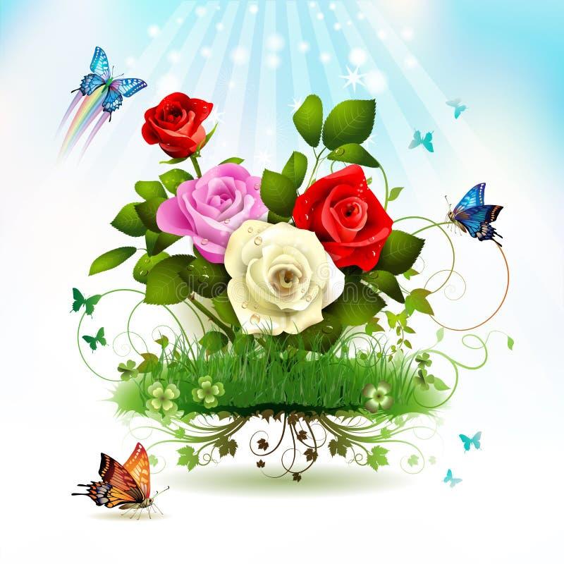 Roses on grass vector illustration