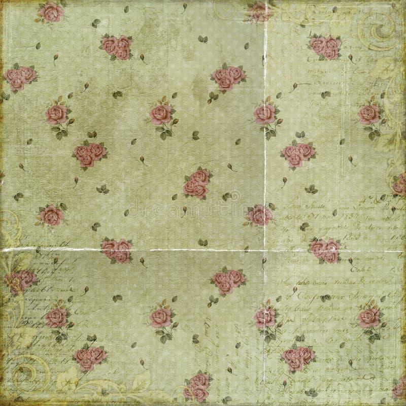 Roses grunges de vintage avec le manuscrit sur l'album vert à fond photographie stock
