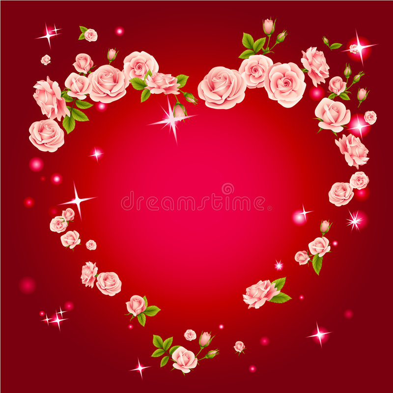 Roses heart frame. Vector illustration of roses heart frame in Victorian style