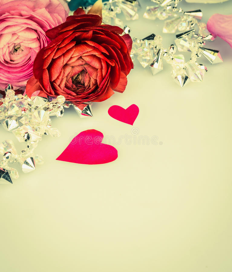 Roses with heart and glas garland, love background stock photography