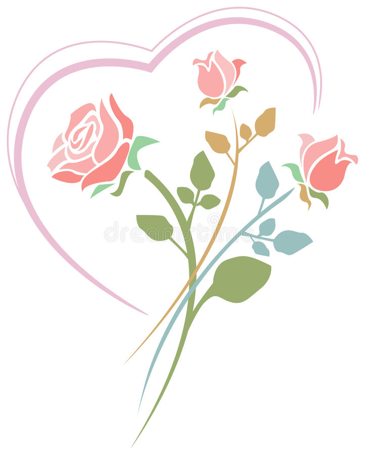 Roses with heart. Line art design royalty free illustration