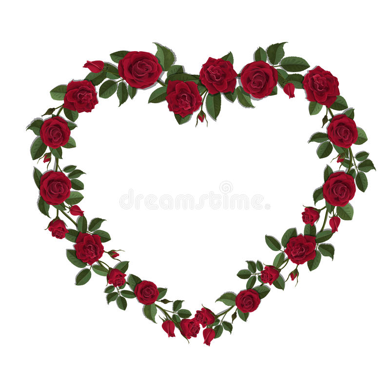 Roses In A Heart Shape Symbol Stock Vector Illustration Of Holiday