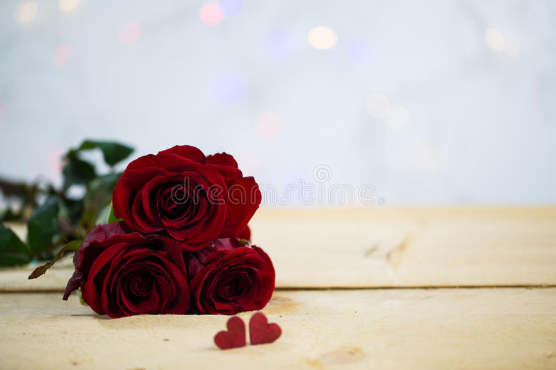 Roses with a heart - valentine, wedding stock photos