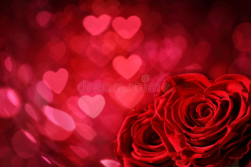 Roses and Hearts background stock photo