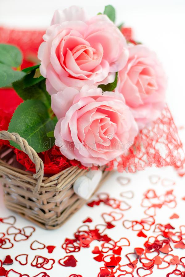 Roses and a hearts on white background, Valentines Day background stock photography