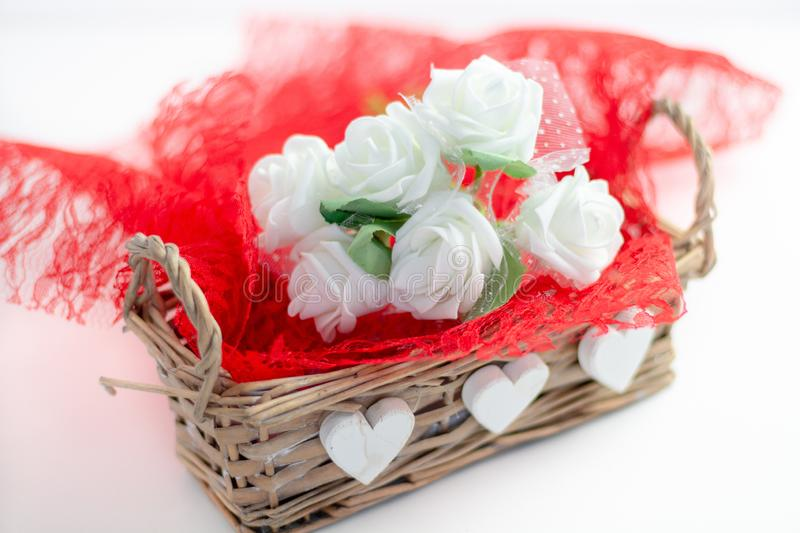Roses and a hearts on white background, Valentines Day background stock photo