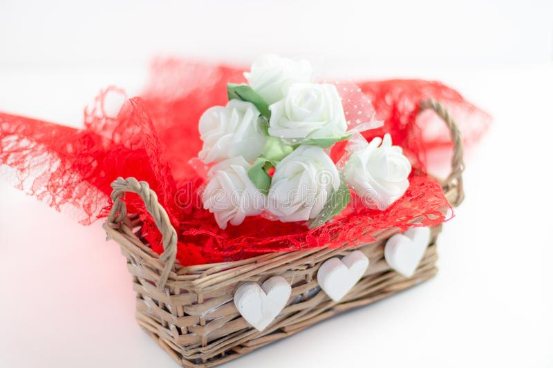 Roses and a hearts on white background, Valentines Day background stock image