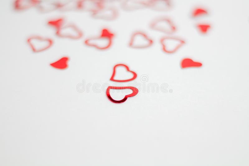 Roses and a hearts on white background, Valentines Day background stock images