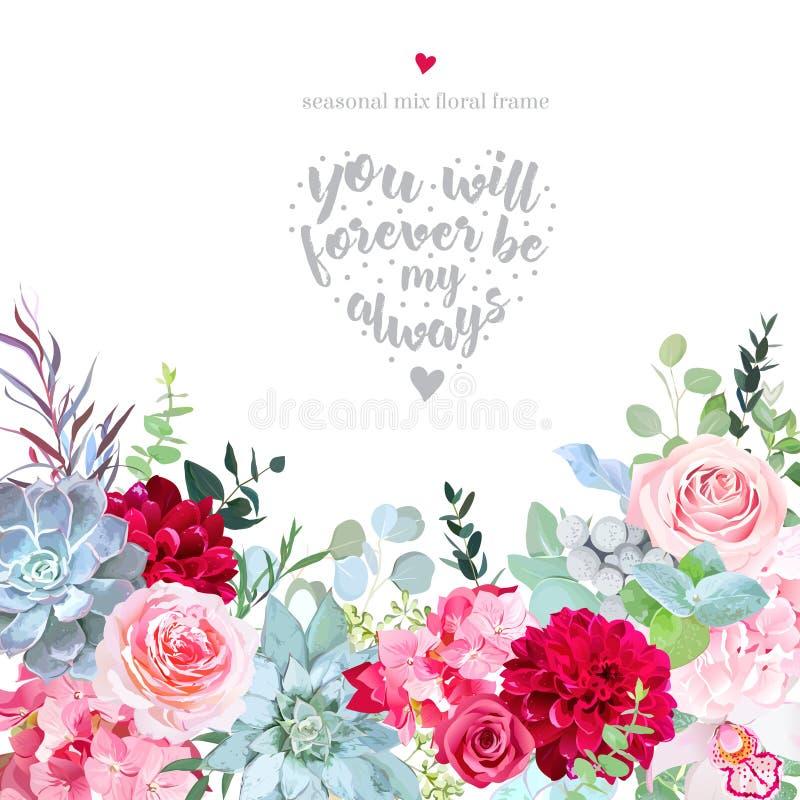Roses roses, hortensia, dahlia rouge de Bourgogne, orchidée, brunia, euca illustration stock
