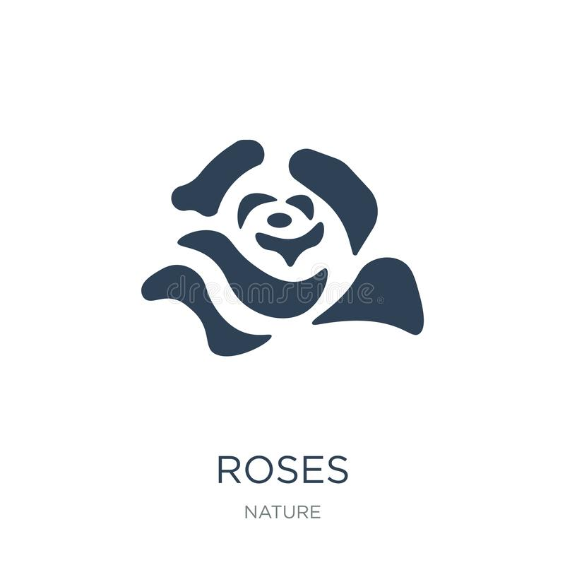 Roses icon in trendy design style. roses icon isolated on white background. roses vector icon simple and modern flat symbol for. Web site, mobile, logo, app, UI royalty free illustration