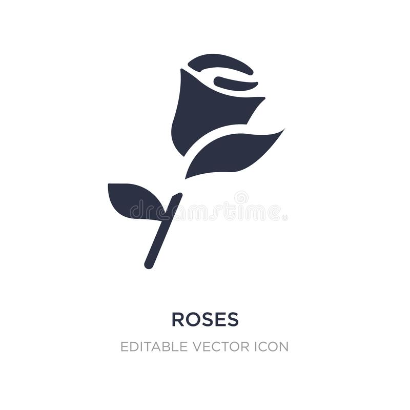 Roses icon on white background. Simple element illustration from Nature concept. Roses icon symbol design stock illustration