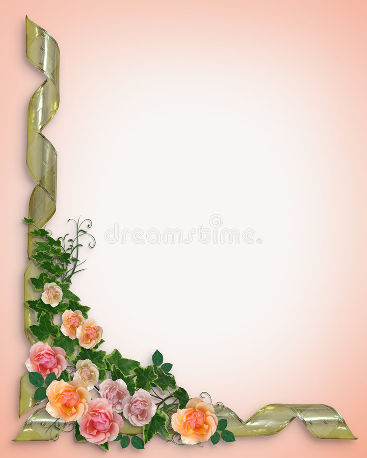 Roses And Ivy Border Invitation Stock Images