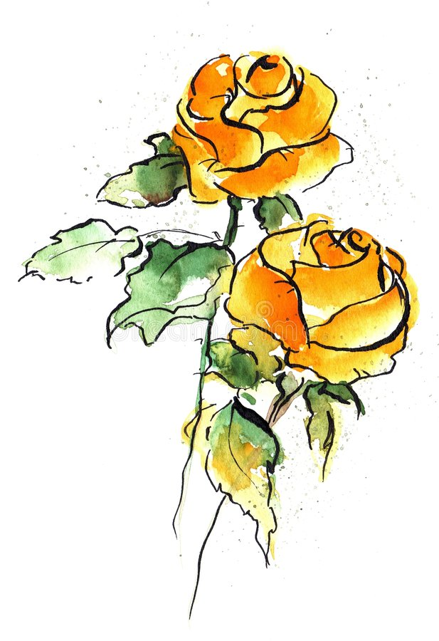 Roses jaunes illustration de vecteur