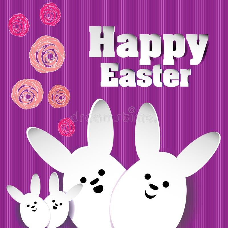 Roses Joyeuses Pâques de famille de lapin illustration de vecteur