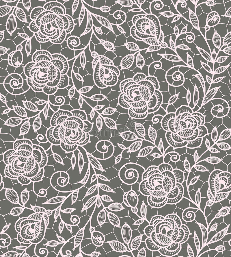 Free Roses Lace Seamless Pattern. Royalty Free Stock Image - 54322106