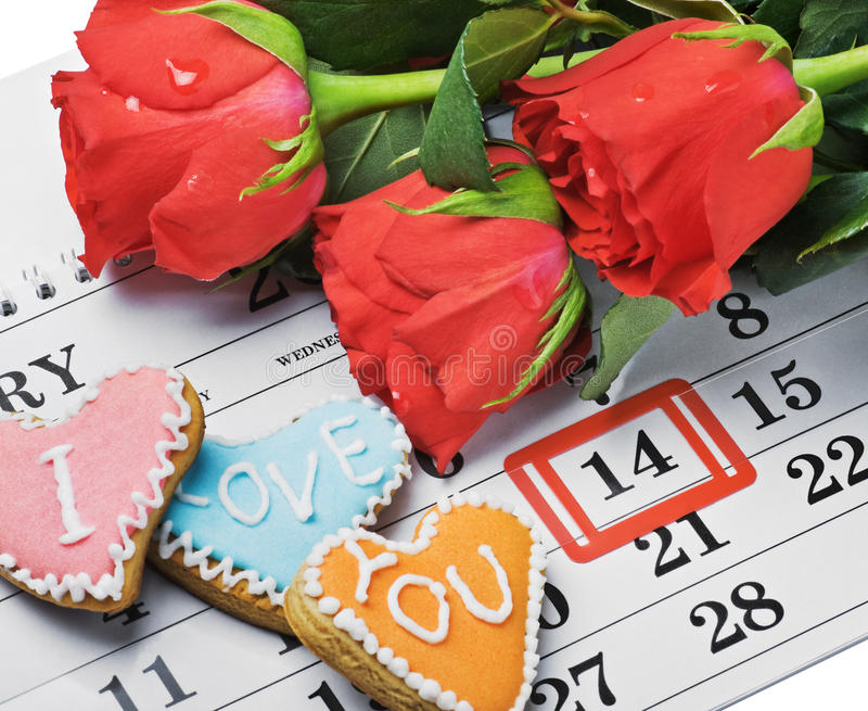 Download Roses Lay On The Calendar With The Date Of February 14 Valentin Stock Image - Image: 28293143