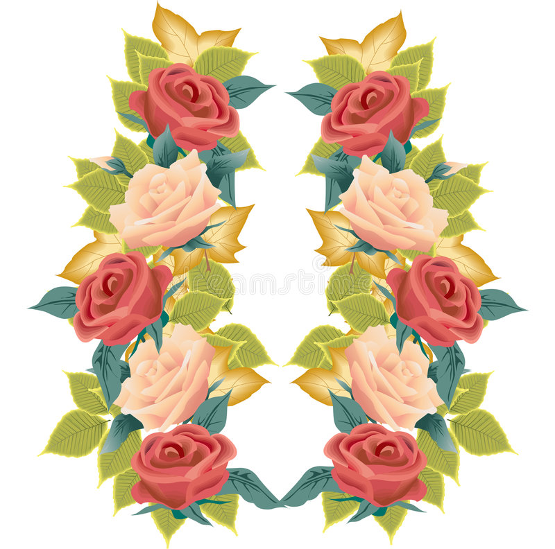 Roses and Leaves Illustration royalty free stock photo