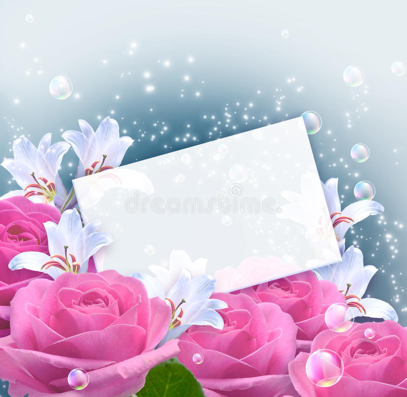 Roses, Lilies And Paper Stock Photography