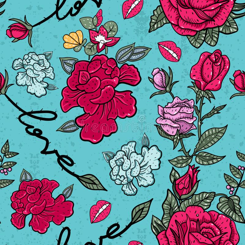 Roses and love slogan seamless pattern in pop art style. stock illustration