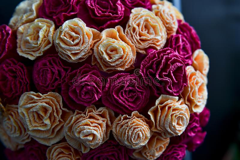 Roses made from paper, decoration wedding. Roses made from paper, wedding decoration, hand made royalty free stock images