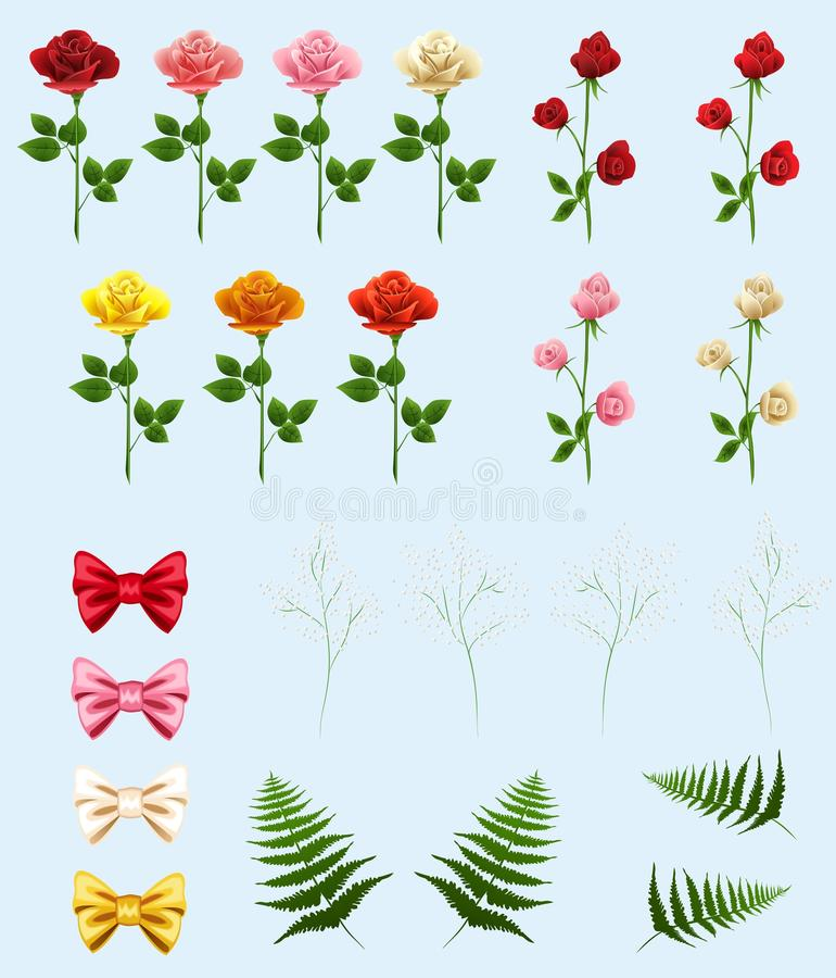 Download Roses for making bouquets stock vector. Image of fern - 22024689