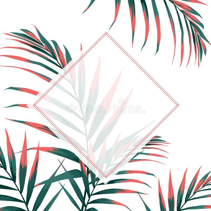 Wedding Invitation, floral invite thank you, rsvp modern card Design with orange tropical palm leaves decorative. stock illustration