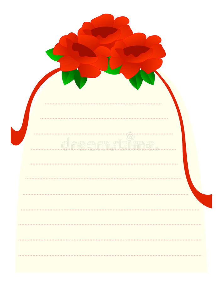 Roses note paper vector illustration
