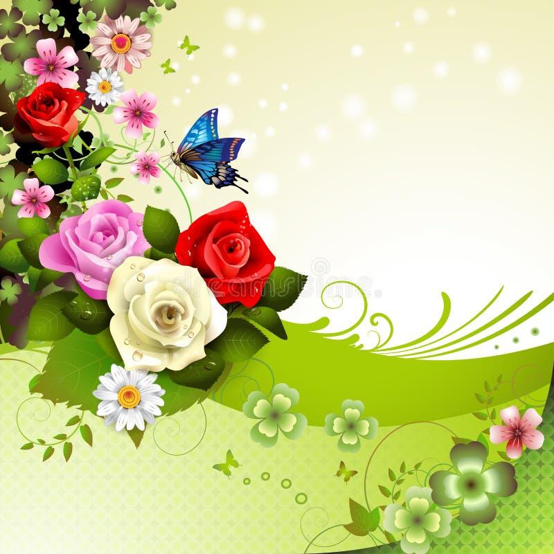Roses over green background vector illustration