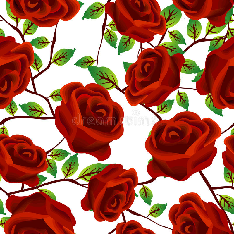 Roses Over White, Pattern Stock Images