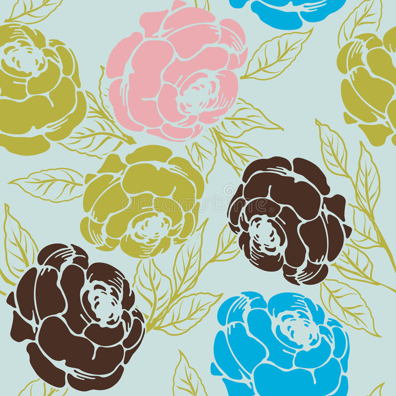 Download Roses pattern stock vector. Image of lines, graphic, blue - 15266294