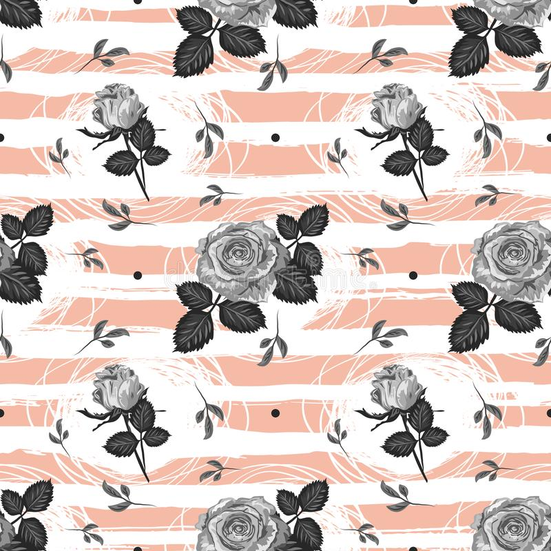 Roses pattern Vintage flower seamless background Trendy striped design, Elegant hand-drawn gray roses. Vector. Flowers wallpaper royalty free illustration