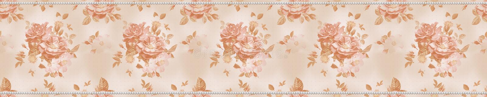 Roses and pearls stock photo