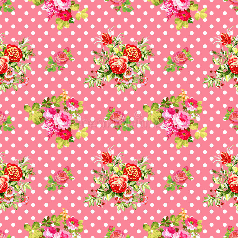 Roses with pink polka dot pattern, seamless texture background royalty free stock images
