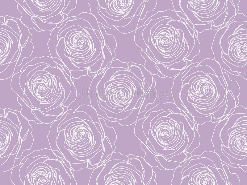 Roses on purple background - seamless pattern. vector illustration