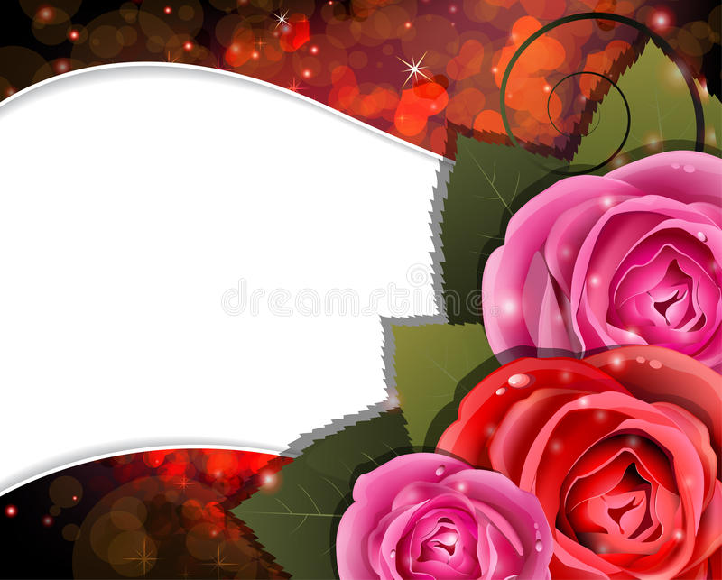 Roses on a red background. Valentines Day card vector illustration