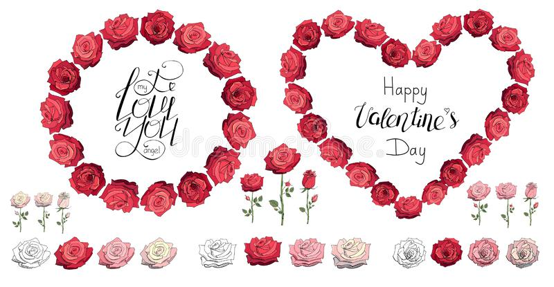 Roses. Red rose wreath. Happy Valentine`s day. I love you. Lettering. Heart made of roses. Set of roses isolated on a. Roses. Happy Valentine`s day. I love you stock illustration