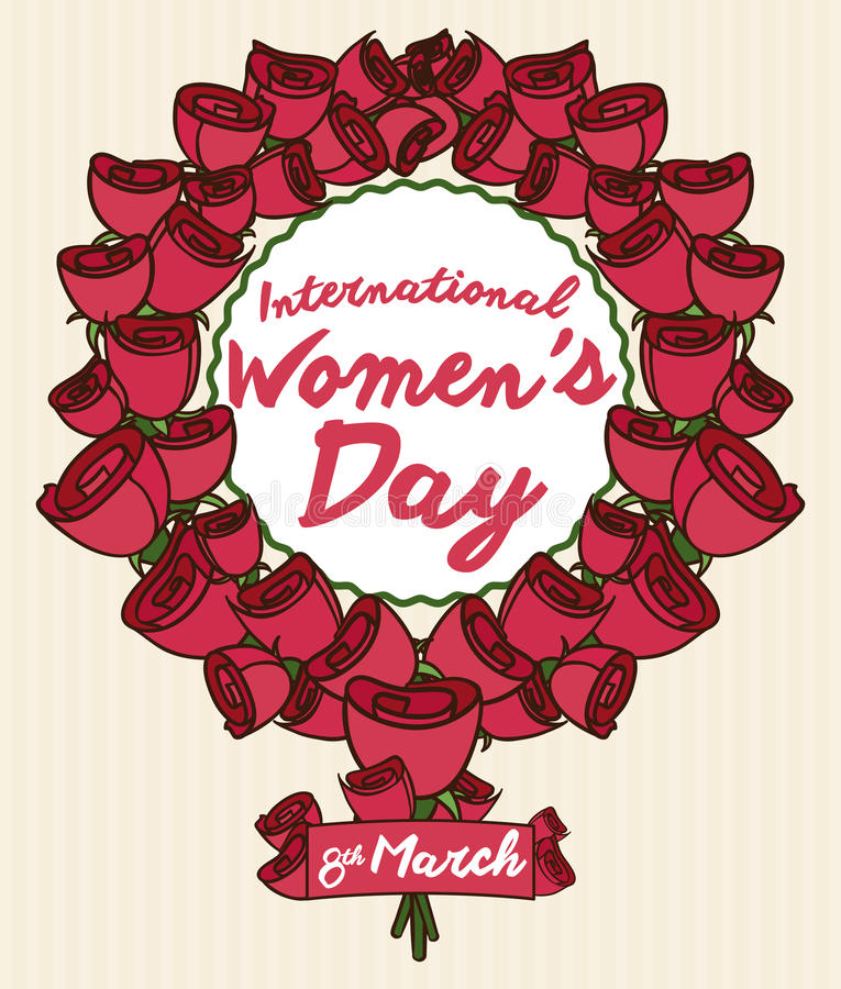 Roses and a Ribbon Forming Women's Symbol for Women's Day, Vector Illustration stock photos