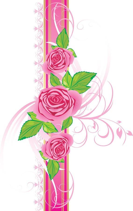 Roses roses avec l'ornement sur la bande décorative illustration stock