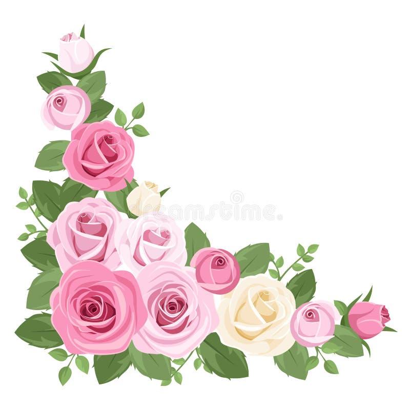 Roses roses et blanches, boutons de rose et lames. illustration de vecteur