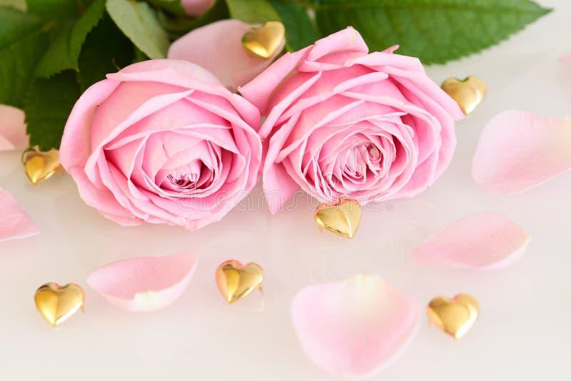 Roses roses molles, feuilles et coeurs d'or image libre de droits