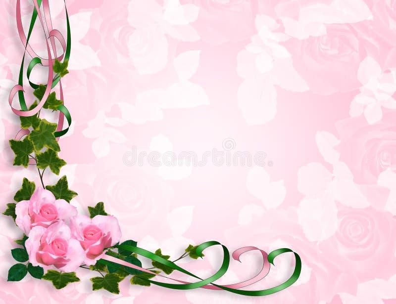 Roses roses Wedding ou invitation de réception illustration de vecteur