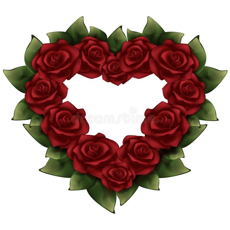 Roses rouges avec les feuilles vertes sous forme d'illustration de coeur illustration stock
