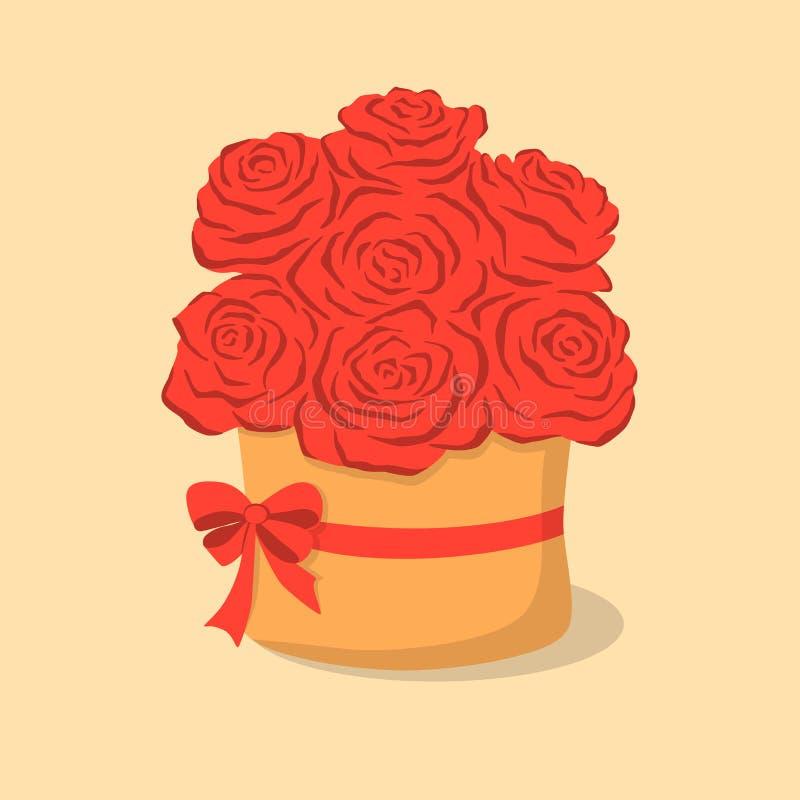 Roses rouges dans la boîte illustration libre de droits