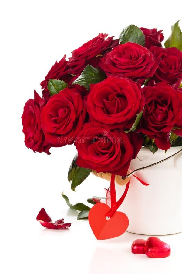 Roses rouges dans le seau photo stock