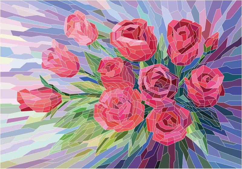 Roses rouges de fleurs en verre souillé belles sur le fond lilas illustration libre de droits