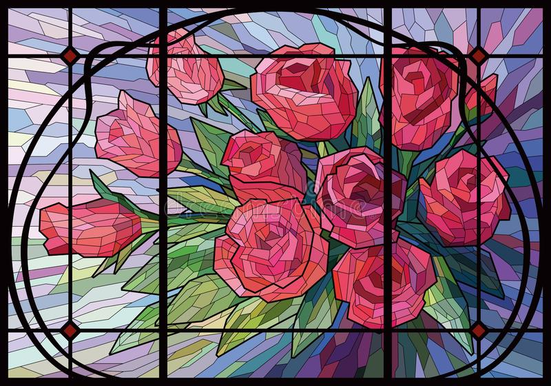 Roses rouges de fleurs en verre souillé belles sur un fond lilas dans un cadre moderniste illustration stock