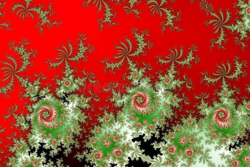 Roses rouges et vertes de motif indien ou russe de fractale photo libre de droits