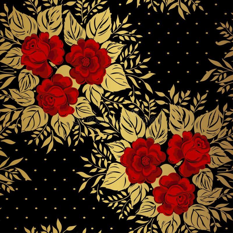 Roses rouges sur le fond d'or Configuration florale illustration stock